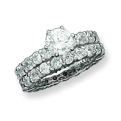 Sterling Silver CZ 2 Piece Wedding Set Ring. Metal Weight- 6g.