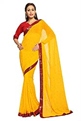 Anvi Yellow faux georgette designer saree with unstitched blouse (1533)