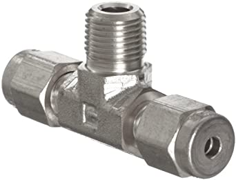 Parker A-Lok 2MBT2N-316 316 Stainless Steel Compression Tube Fitting, Tee, Tube OD x NPT Male x Tube OD