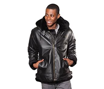 Wilda Men's B3 Leather Bomber Jacket w/ Removeable Hood-M-Black