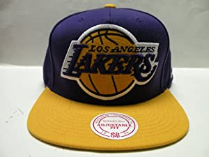 Mitchell and Ness NBA Los Angeles Lakers Big Logo 2 Tone Snapback Cap