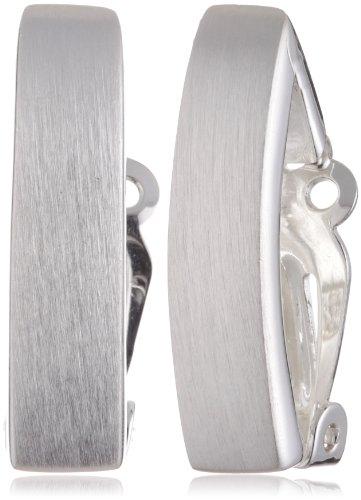 VINANI German 925 Sterling Silver Women Clip-On Earrings Rectangle matte LLM