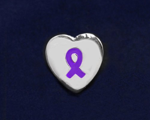 Purple Ribbon Pin-Heart Tac Pin (50 Pins)