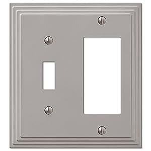 Combination Toggle Switch & Decora GFI Rocker Cover Wall Plate Satin Nickel Finish