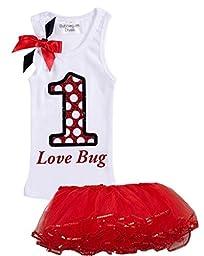 Bubblegum Divas Baby Girls\' 1st Birthday Shirt Ladybug Red Tutu Outfit 24 Mos