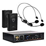 Nady DKW DUO Dual Wireless Headmic Microphone VHF System- includes 2 Head set microphones, receiver, AC adapter and audio cable - Easy setup - Karaoke, performance, presentation, public address