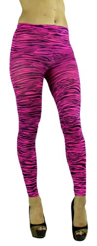 ToBeInStyle Women's Elastic Animal Print Footless Leggings - One Size - Zebra Pink