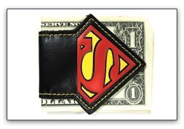 DC Comics SUPERMAN S Logo Magnet Black Leather MONEY CLIP