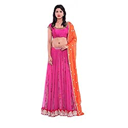 Pink net layered with printed silk lehenga and raw silk embroidered blouse with orange duppatta.