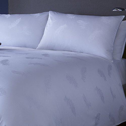 """Mason: """"Piume"""", motivo intrecciato-Set di copripiumino e federe per letto matrimoniale, in cotone, colore: bianco, Cotone, Bianco, King"""