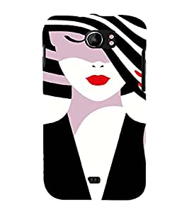 PrintVisa Fashion Girl Hat 3D Hard Polycarbonate Designer Back Case Cover for Micromax Canvas 2 A110 A110Q