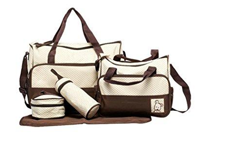 Lath.PIN 5-piece Baby Bear Diaper Bags Casual Messenger Shoulder Mother Bag Mama Handbag (Brown)