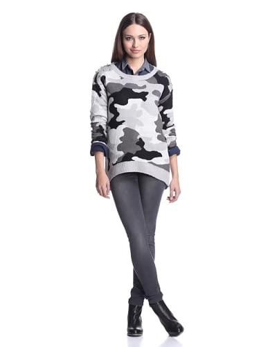 Dex Women's Camo Jacquard Sweater with Studs  [Grey Camouflage]