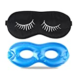 Fitglam Pure Silk Sleep Mask + Reusable Cold / Hot Therapy SPA Gel Eye Mask Set - Improve Sleeping, Alleviate Puffy, Swollen Eyes, Fatigue, Headache and Tension (Black with White Eyelashes & Gel) (Color: Black With White Eyelashes, Tamaño: M with Gel)