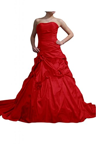 MiLano Bride Alluring Strapless Red Wedding Gowns Taffeta Flowers A-line
