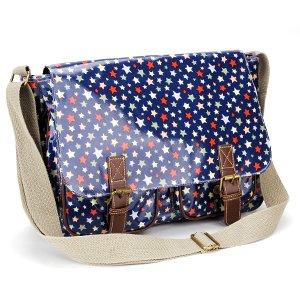 Grande Bolso de hombro para Mujer con Bandolera Color Azul Oscuro con Estrellas Colores de Mensajero Bolsa