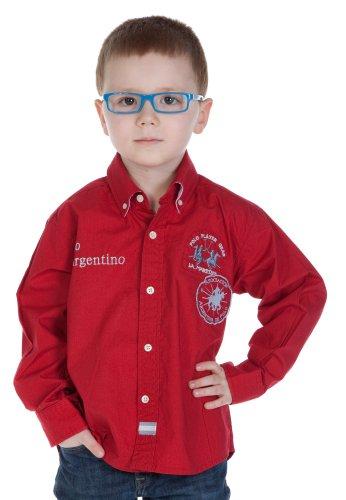 La Martina - Camicia - Con bottoni  - Maniche lunghe  - ragazzo rosso 4 anni
