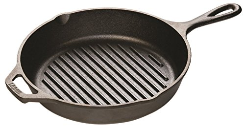 Premium Lodge Cast Iron 10.25 Inch Round Grill Pan with Bear Paw Meat Handlers Combo