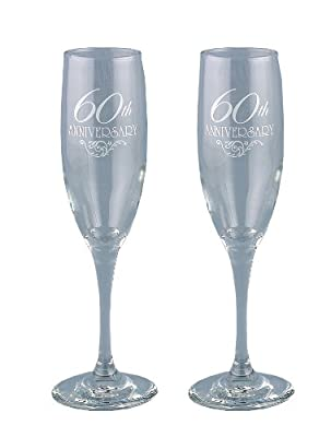 Hortense B. Hewitt Wedding Accessories 60th Anniversary Toasting Flutes, Set of 2