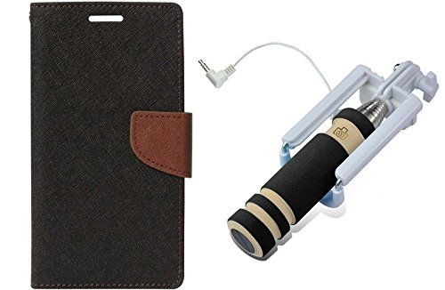 Uni Mobile Care Flip Cover For MotorolaMoto X Play - Black + Mini Pocket Selfie Stick With Aux Cable For Mobile...