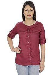 Franclo women's Formal Shirt (Wine, Medium)