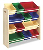 Whitmor 6436-1523-DS Kids 12-Bin Organizer, Primary Colors