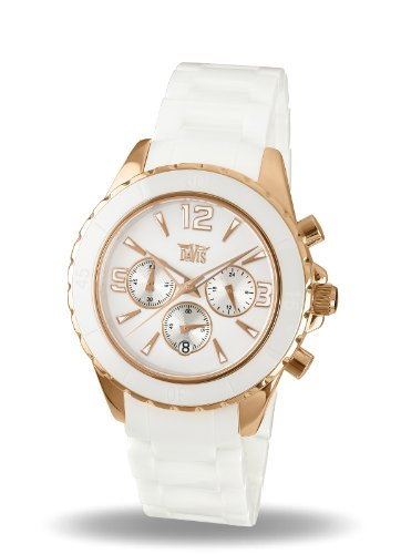Davis Ladies Elegant Rose Gold Sport White Ceramic watch