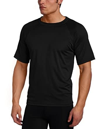 Kanu Surf Men's Big Solid Rashguard Extended Size Swim Tee UPF 50+, Black, 2X