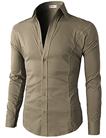 h2h mens wrinkle free slim fit dress shirts with solid