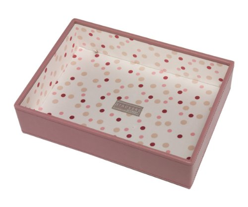 Pink Deep Open Stacker With Polka Dot Lining