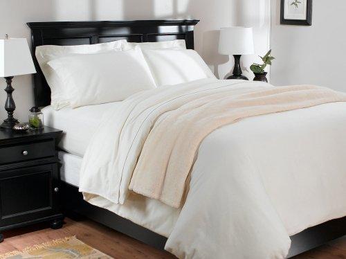 Pinzon 160-Gram Solid 100-Percent Cotton Flannel Duvet Cover, Full/Queen, Cream front-1052006