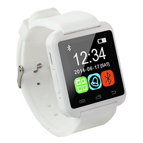 Tera U8 Bluetooth Intelligent LCD Touch White Watch Bracelet Wristband Pedometer Barometer Altimeter with Steps Tracking Phone Anti-lost Call Message Sync