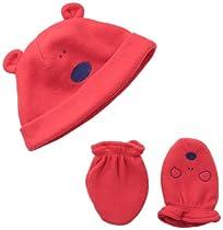 Gerber Baby-Boys Infant Novelty Cap and Mitten Set, Red Bear, 12-24 Months