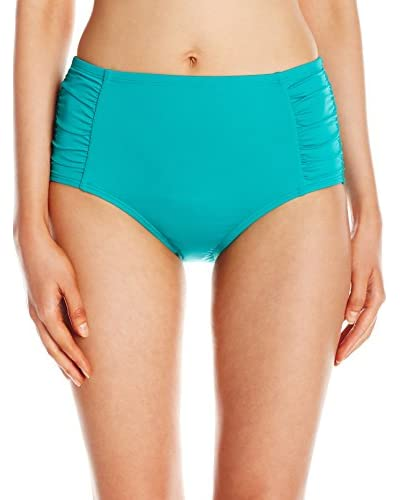 Jantzen Women's Solid Side Shirred High Waist Bottom