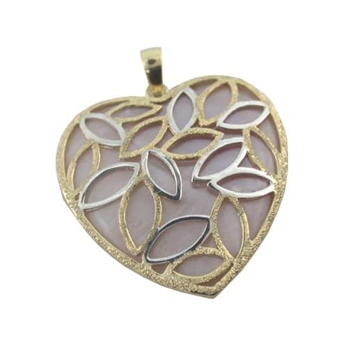 Pink Mother Of Pearl Snared Heart Pendant, 14k Gold