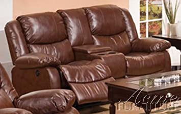 ACME 50204 Fullerton Bonded Leather Loveseat and Console - Brown