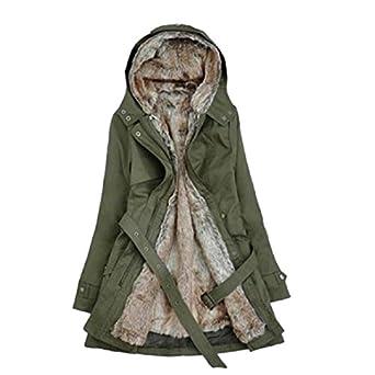 Zicac Women's Thicken Fleece Faux Fur Warm Winter Coat Hood Parka Overcoat Long Jacket (UK4 to UK14 Available) (UK 4, Green)