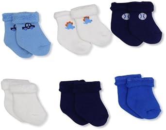 Gerber Baby-Boys  6 Pack Variety Socks, Blue/White, 3-6 Months