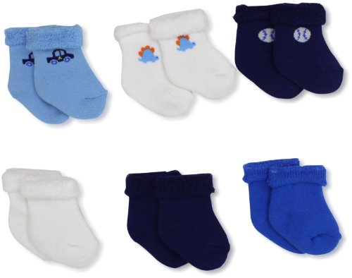 Gerber Baby-Boys  6 Pack Variety Socks, Blue/White, 0-3 Months