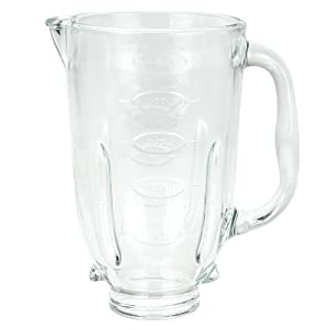 "Round glass blender jar, fits Oster blenders, 4.5"" opening."