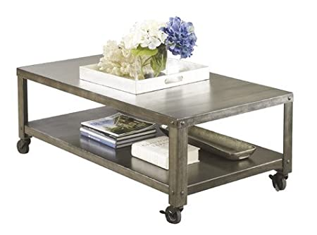 Rectangular Industrial-style Stainless Steel Pewter Grey Finish Metal Coffee Table with Casters and Exterior Shelves