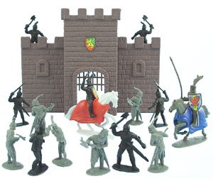 Buy 17 Piece Medieval Fantasy Knight & Castle Wall Army Men Figures Playset