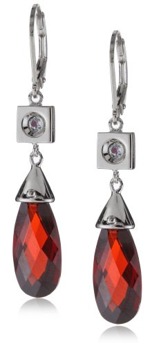 ELLE Jewelry Garnet Cubic Zirconia Sterling Silver Earrings