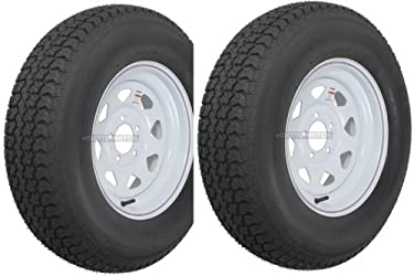 2-Pack Trailer Wheel & Tire #420 ST205/75D15 205/75 D 15″ LRC 5 Hole White Spoke
