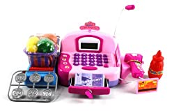 HYL Fun Educational Pretend Play Battery Operated Toy Cash Register w/ Working Scanning Action, Micr
