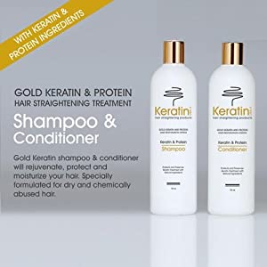 Gold Keratin & Silicone Shampoo and Conditioner 16 oz