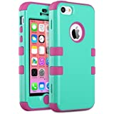 iPhone 5c Case, ULAK iPhone 5c Case Hybrid High Impact Soft Silicone and Hard PC Case Cover for Apple iPhone 5C (Green + Rose)