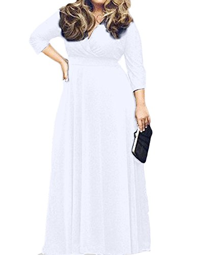 POSESHE Women's Solid V-Neck 3/4 Sleeve Plus Size Evening Party Maxi Dress (L, White)