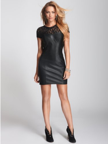 GUESS Women's Lace Contrast Faux-Leather Dress