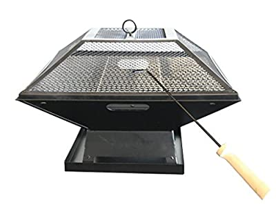 Outdoor Garden Fire Pit Firepit Brazier Burner Square Stove With Protective Cover Patio Heater With Bbq Grill Camping Party Food Tasty Heat Char-grilled Decking Outdoor Dining by E-Bargains
